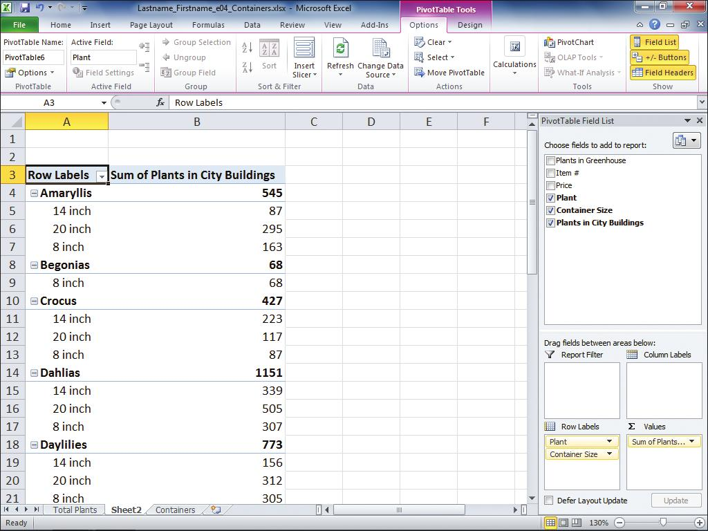 8. In the PivotTable Field List pane, select the Container Size check box, as shown in Figure 5.
