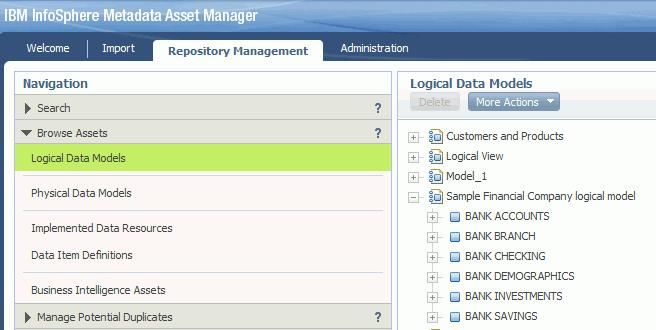 a. Click the Repository Management tab, and then select Browse Assets > Logical Data Models. b.