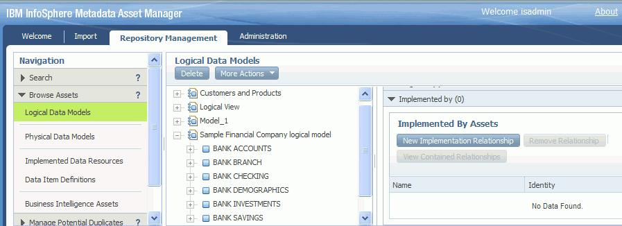 Figure 16. Setting an implementation relationship between the logical data model Sample Financial Company logical model and the physical data model SF_Bank2 4.