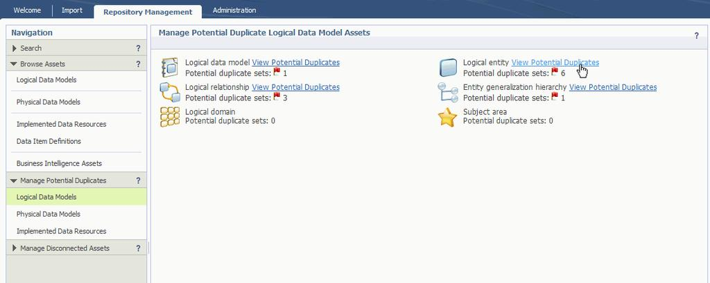 2. Click View Duplicates next to the Logical entity icon. Figure 30. Viewing duplicate logical entity assets on the Repository Management tab 3.