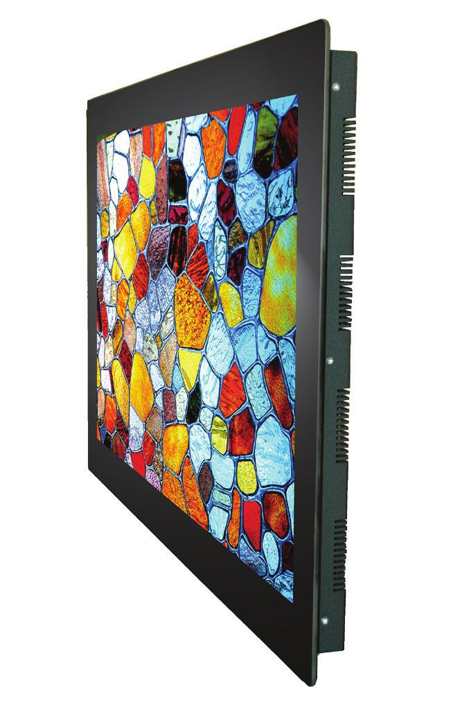 printed black passepartout RAL 9005 Touch points 10 Touch technology Projected capacitive Safety glass TSG, 4 mm anti glare, printed black passepartout (RAL 9005) TrueFlat bezel monitor with PCAP