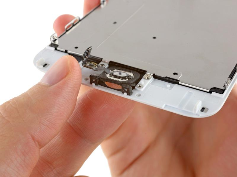 Do not push the home button all the way through you only need to get a corner free, so that you can pry it free with a