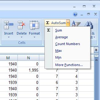 Several of the most common summary statistics can be found on the drop down menu under AutoSum.