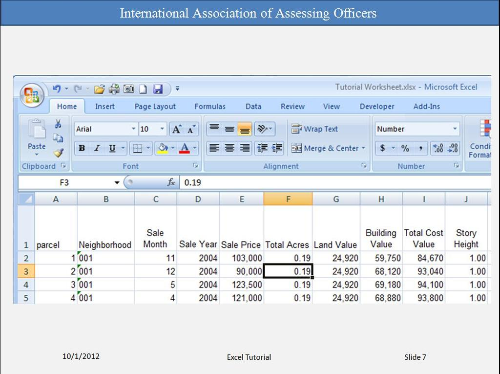 You can enter two basic kinds of data into worksheet cells: numbers and text. In the Mass Appraisal courses, you will be using real estate data supplied to you.