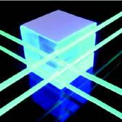 Particle passes through the cube and emits