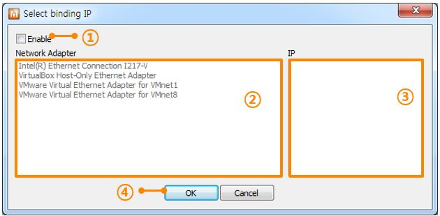 5.2.10 Select binding IP By selecting a binding IP address, you can choose a Network Interface Card (NIC) of your PC for broadcasting the search packet from ezmanager.