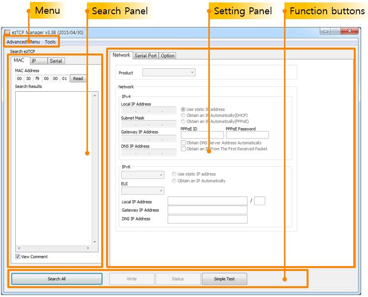 2 Window Composition 2.1 Initial Appearance Search Panel Figure 2-1 initial appearance of ezmanager To configure the environmental parameters, the setting should be loaded to ezmanager.