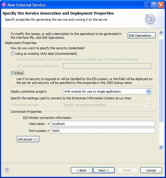 16. In Service Generation and Deployment Configuration panel, select Other