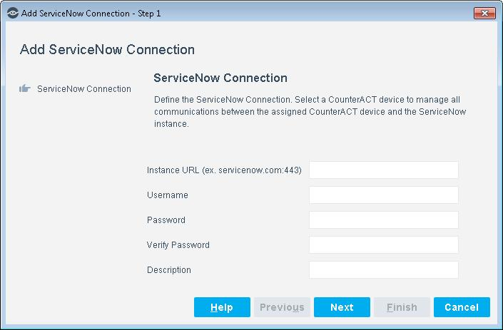 4. In the ServiceNow Connection pane, enter your configurations.