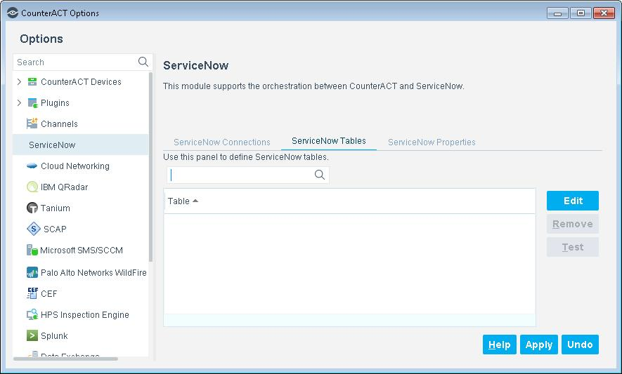 Define ServiceNow Tables Configuration Management Database (CMDB) is enriched and supplemented by the bi-directional data exchange between CounterACT and ServiceNow.