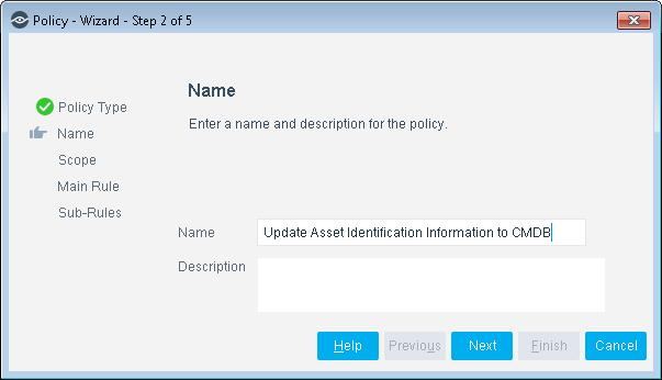 Expand the ServiceNow folder and select Update Asset Identification Information to CMDB. The Update Asset Identification Information to CMDB pane opens. 4. Select Next. The Name pane opens.