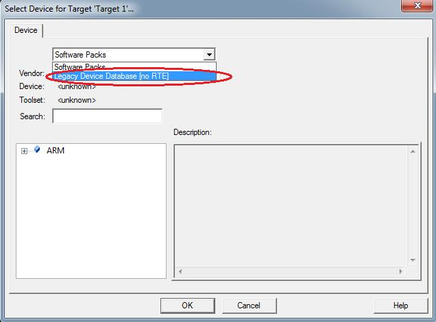 5- The Project Wizard will prompt you to select the device type for the project target.