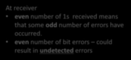 even number of bit errors could result in undetected errors odd parity: number of 1s in the d+1 bits is odd At