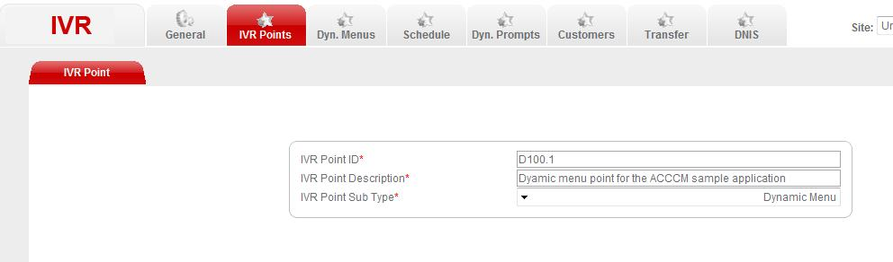 1 point in the ACCCM IVR application: The following figure displays the D100.1 dynamic menu configuration in ACCCM.