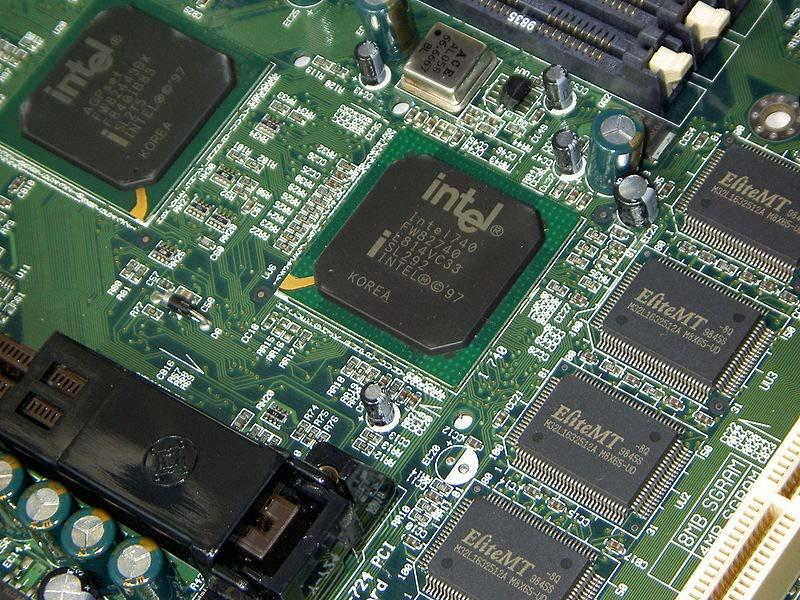 A mainboard with Intel i740. The Intel740, or i740, is a graphics processing unit using an AGP interface released by Intel in 1998.
