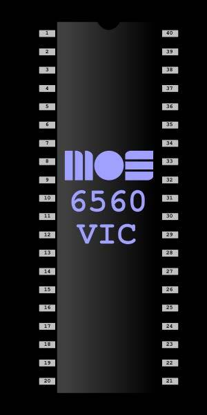 MOS Technology VIC Pinout diagram of the 6560 version of the MOS VIC chip. This circuit was packaged in a standard 40-pin DIP casing.