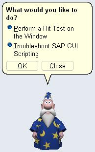 "2. Wizard dialog A wizard dialog popped up. Click the button ""Troubleshoot SAP GUI Scripting"" and press OK."