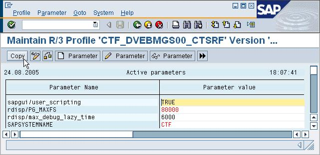 5. New parameter is displayed The new parameter is displayed in the profile (see line 1).