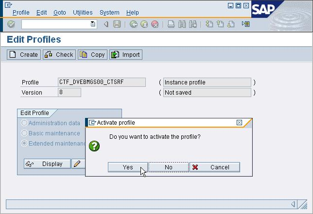 8. Activate Profile The system now asks if the profile should be activated.