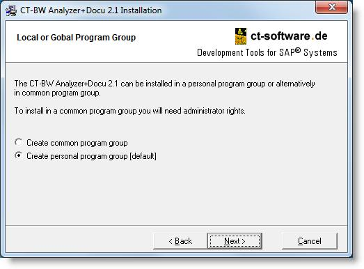 9. Select the program group You can choose a common program group (can be