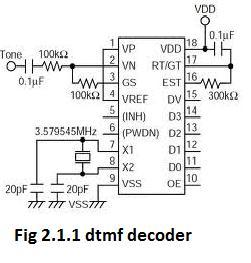 2.1 DTMF DECODER MT8870: This circuit detects the dial tone from a telephone line and decodes the keypad pressed on the remote telephone.