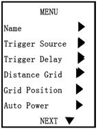 channel destination for each trigger Distance Grid: Toggle which channel distance grid lines will display on Grid Position: Adjust position of distance grid lines Auto Power: On: Monitor