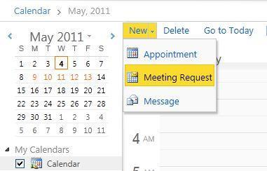 Yu receive ntificatin when smene accepts, declines, r prpses a new meeting time. 1. Click New n the Calendar Tlbar. 2. Click Meeting Request.