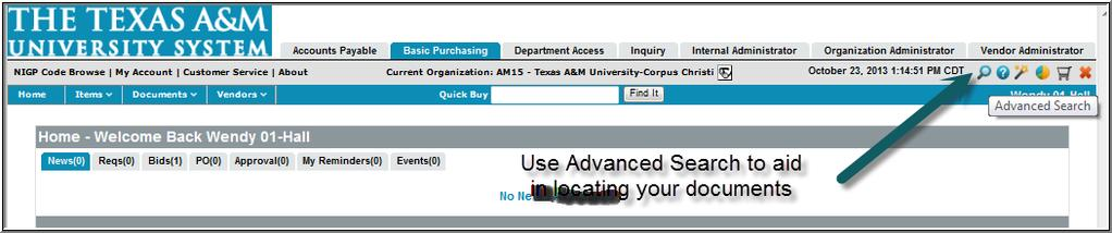 Buy A&M Org Admin Tips and Techniques (cnt d) Header and Navigatin Bars User Rles Primary Rles: The tabs indicate the rle the user is in when wrking in Buy A&M.