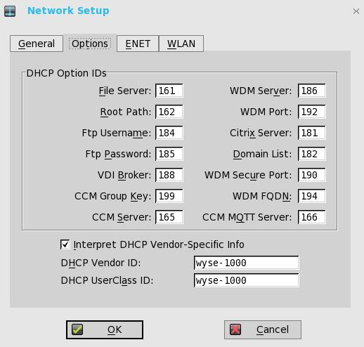 a DHCP Option IDs Enter the supported DHCP options. Each value can only be used once and must be between 128 and 254.