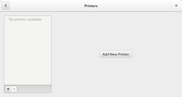 Figure 8. Printer Settings Figure 9. Add New Printer 1 Click the printer icon. The gnome-control-center printer dialog box is displayed.