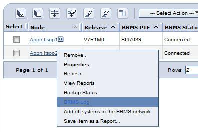 BRMS log All BRMS activity can be monitored through the BRMS log. Filters can be used to subset the messages in the log.