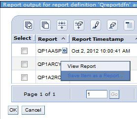 Report output When report definitions are run, they produce reports. The reports identify the report output that was generated.