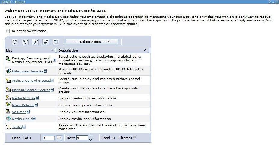 Select the Enterprise Services option that is listed under the main BRMS welcome panel.