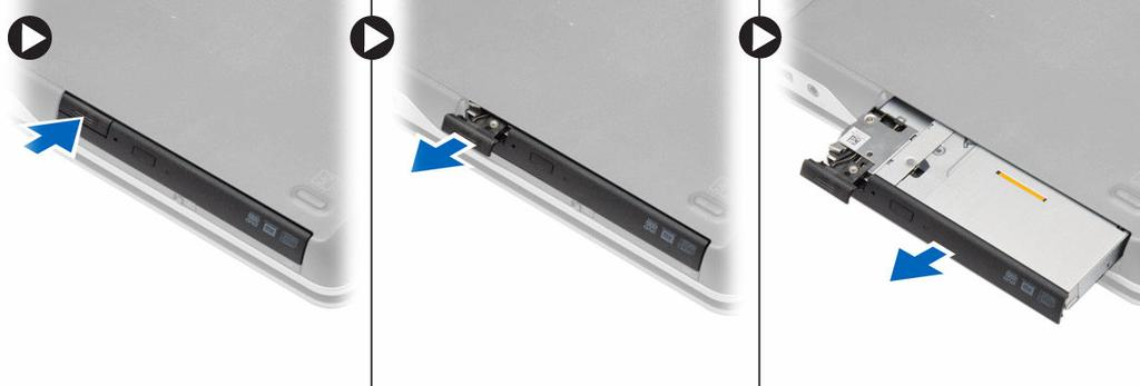 4. Remove the screw that secures the optical-drive latch to the optical drive.