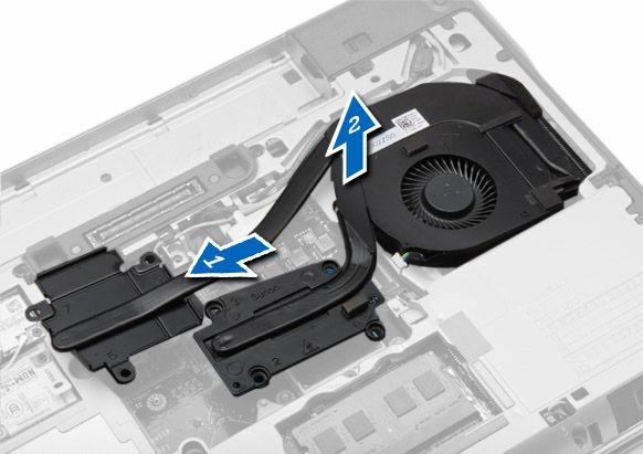4. Perform the following steps as shown in the illustration: a. Slide the heat-sink assembly. b. Lift the heat-sink assembly from the computer. Installing the Heat-Sink Assembly 1.