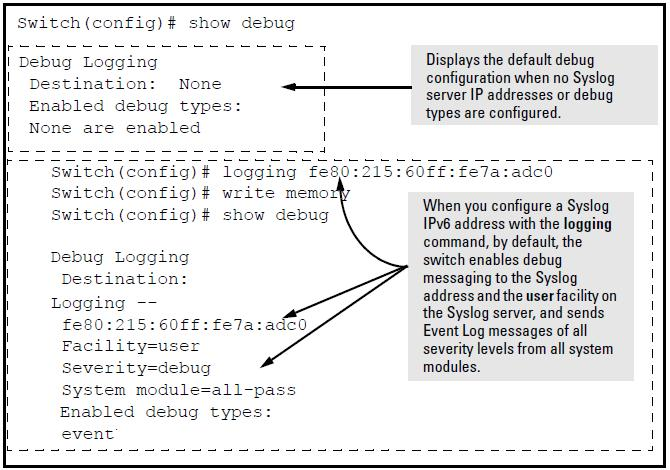 The following figure shows an example of show debug command output that displays a configured IPv6 Syslog server.