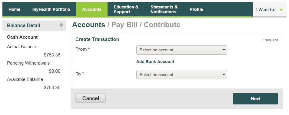 I want to Pay Bill/Contribute (Withdrawal/Contribution) From the left side of the Home Page, select Pay Bill/Contribute.