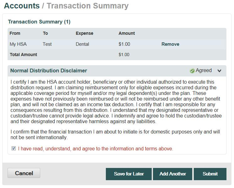 Transaction Summary and Confirmation View the transaction summary and read