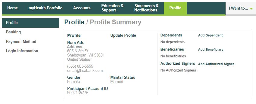 Profile Profile Summary The Profile page assists with reviewing your personal demographic information and offers the functionality to add an external bank account for online contributions and