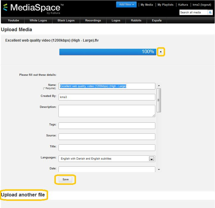 Uplading Media 4. While the file is uplading, n the Uplad Media page yu can: Enter infrmatin abut the media and click Save.