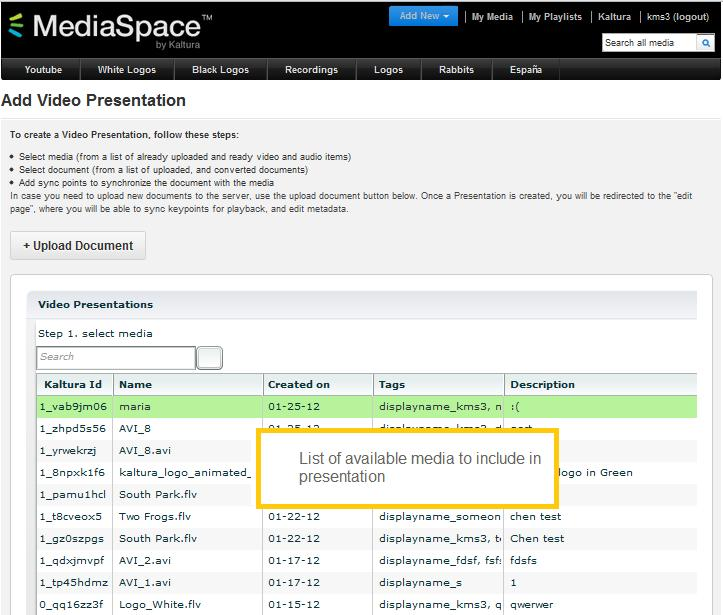 In the MediaSpace header's Add New menu, select Vide Presentatin.