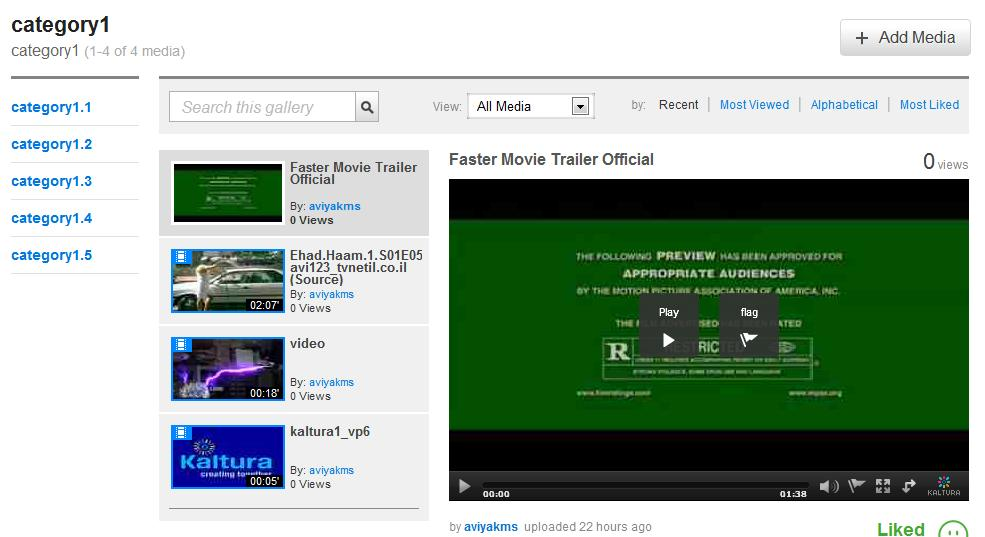 Kaltura MediaSpace Overview T select a vide t play In a media gallery r channel, click a media thumbnail t display