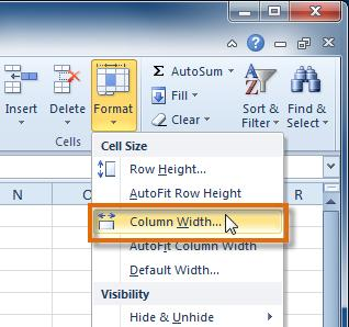 Select the columns you want to modify. 2. Click the Format command on the Home tab. The format drop-down menu appears. 3.