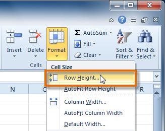 Select Row Height. 4. The Row Height dialog box appears. Enter a specific measurement. 5. Click OK.