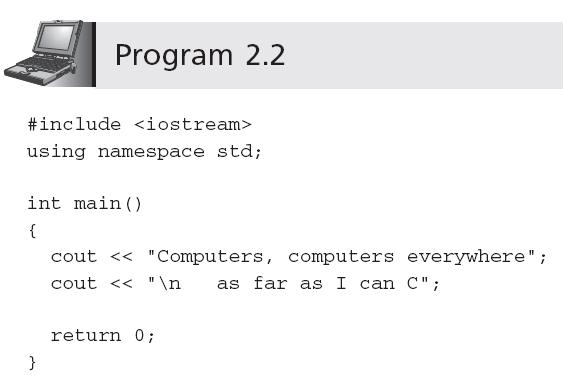 ( continued ) The cout Object C++ for
