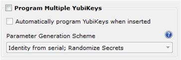 Programming Multiple YubiKeys When configuring large batches of YubiKeys, the YubiKey Personalization Tool can be configured to automate the process, generating unique secrets for each device while
