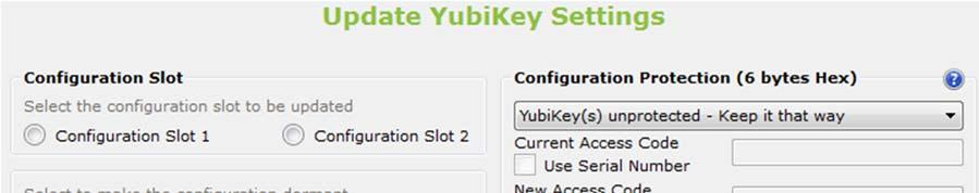 c. If the YubiKey slot you are configuring is currently protected with an access code, and you want to set a new access code, select YubiKey(s) protected Change Access code.