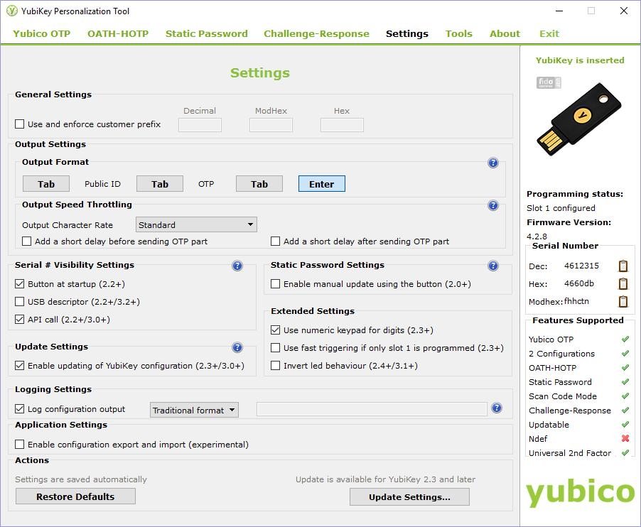 5. To configure YubiKeys for Okta, change the following settings: a.