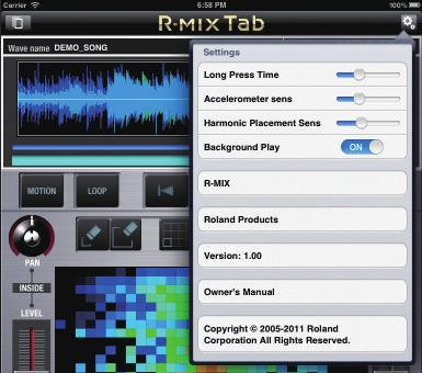 Preference Settings for R-MIX Tab Here you can specify how R-MIX Tab will operate. 1. Tap the button. The Setup screen will appear.