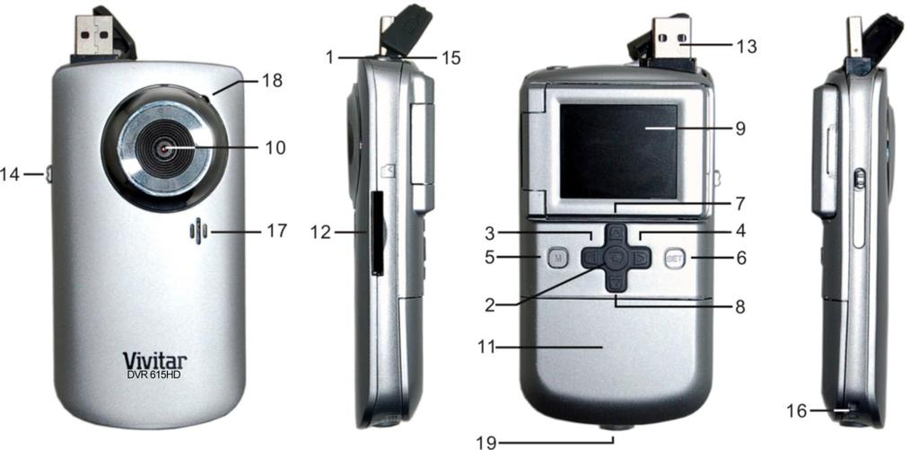 Parts of the Camera 1. Power Button 11. Battery Compartment 2. Shutter Button 12. SD Memory Card Slot 3. Left / Zoom Out/ Thumbnail View 13. USB Connector 4. Right / Zoom In 14. USB Lever 5.